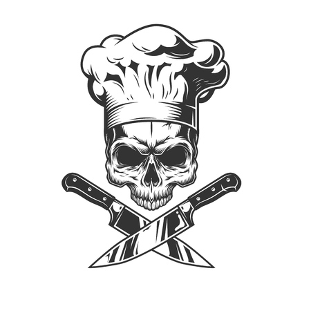 Skull without jaw in chef hat with crossed knives in vintage style isolated vector illustration Illustration
