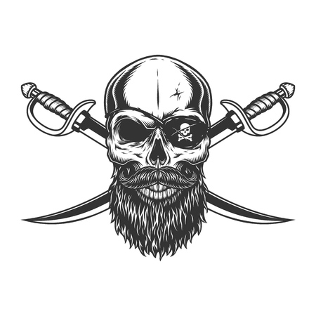 Vintage skull with pirate eye patch beard mustache and crossed swords isolated vector illustration