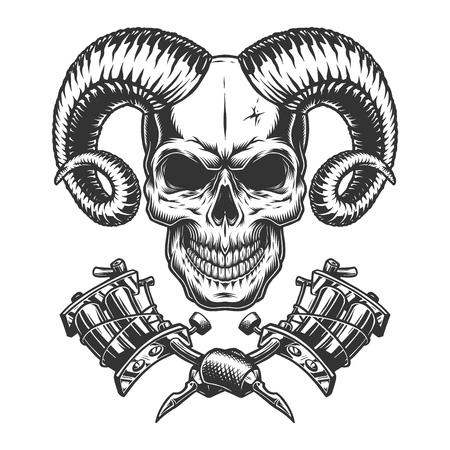 Vintage monochrome demon skull with crossed tattoo machines isolated vector illustration Illustration