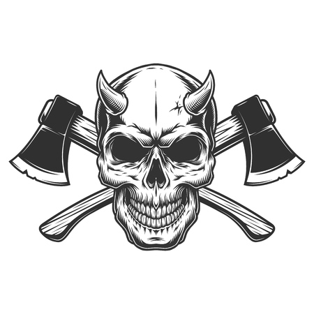 Vintage demon skull with horns and crossed axes in monochrome style isolated vector illustration