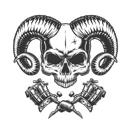 Scary demon skull without jaw with crossed tattoo machines in vintage monochrome style isolated vector illustration