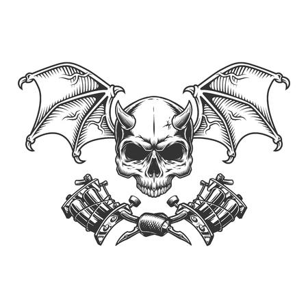 Cranio di demone monocromatico vintage con ali e macchine per tatuaggi incrociate illustrazione vettoriale isolata Vettoriali