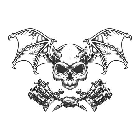 Vintage monochrome demon skull with wings and crossed tattoo machines isolated vector illustration