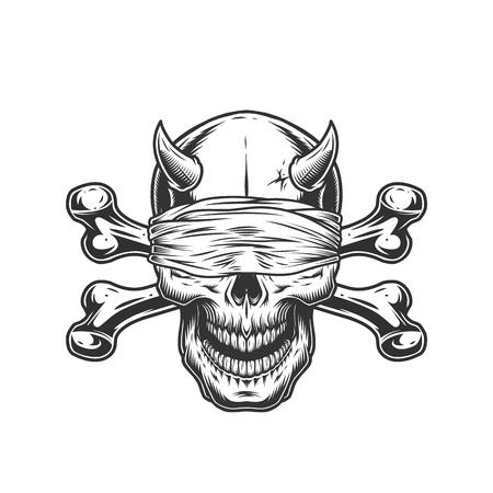 Demon schedel met blinddoek en gekruiste knekels in vintage zwart-wit stijl geïsoleerde vectorillustratie