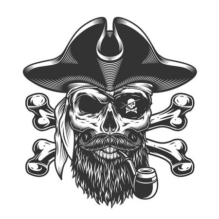 Pipa vintage con teschio pirata barbuto e baffuto con benda sull'occhio e ossa incrociate isolate illustrazione vettoriale Vettoriali