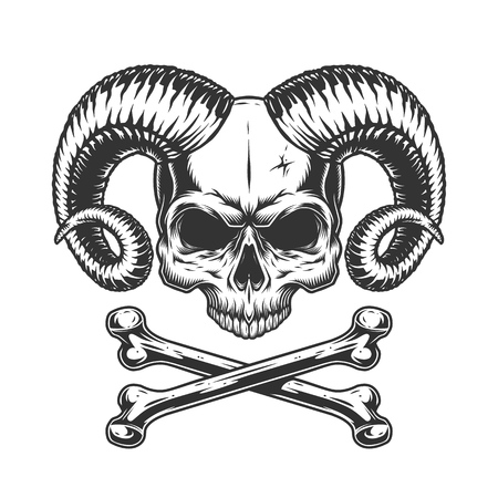 Devil skull without jaw with crossbones in vintage monochrome style isolated vector illustration