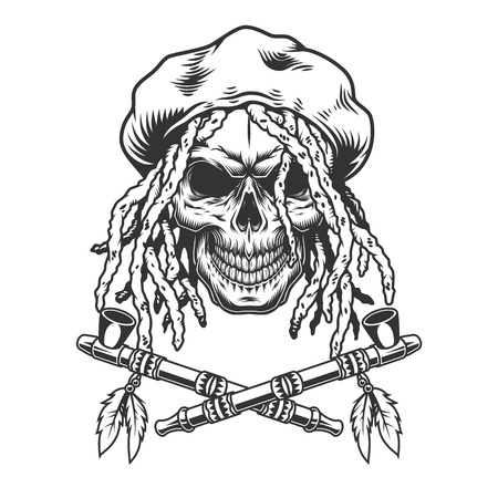 Vintage monochrome rastaman skull with rasta hat dreadlocks and crossed smoking pipes isolated vector illustration