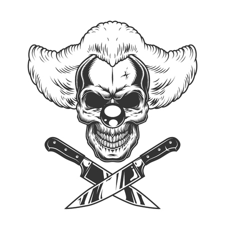 Vintage monochrome creepy clown skull with crossed knives isolated vector illustration