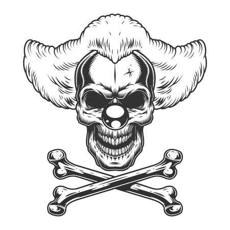 Vintage monochrome scary evil clown skull with crossbones isolated vector illustration