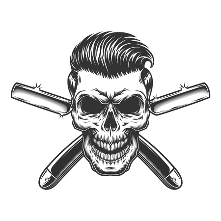 Barber skull with stylish hairstyle and crossed razors in vintage monochrome style isolated vector illustration