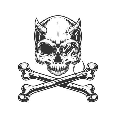 Vintage monochrome demon skull without jaw with rimless eyeglasses and crossbones isolated vector illustration 向量圖像