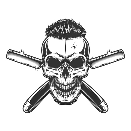 Vintage monochrome barber skull with trendy hairstyle and crossed razors isolated vector illustration