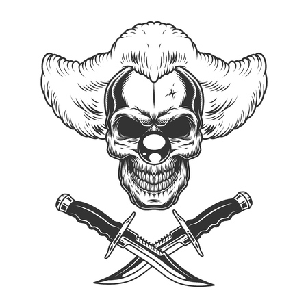 Vintage scary clown skull with crossed knives in monochrome style isolated vector illustration Illustration