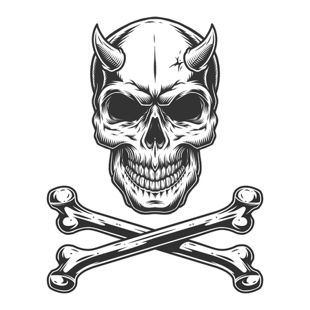 Vintage monochrome demon skull with horns and crossbones isolated vector illustration
