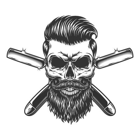 Cráneo de peluquero barbudo y bigote con peinado de moda y navajas de afeitar cruzadas en estilo monocromo vintage aislado ilustración vectorial