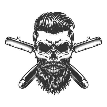 Crâne de barbier barbu et moustachu avec une coiffure à la mode et des rasoirs croisés en illustration vectorielle isolée de style monochrome vintage