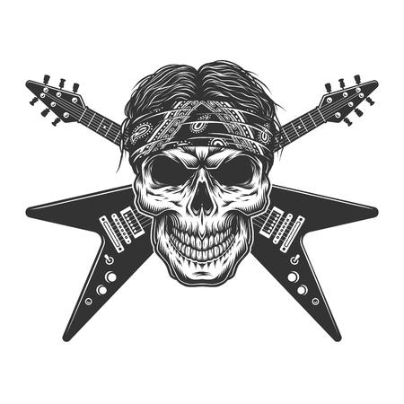 Cráneo de músico de rock monocromo vintage con guitarras eléctricas cruzadas ilustración vectorial aislada Ilustración de vector