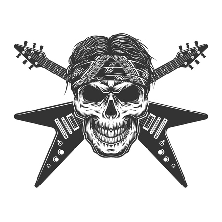 Vintage monochrome rock musician skull with crossed electric guitars isolated vector illustration Stockfoto - 116383500