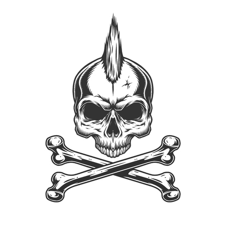 Vintage monochrome skull with mohawk and crossbones isolated vector illustration