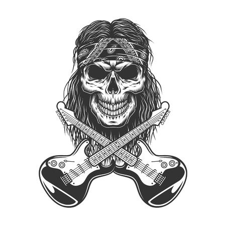 Vintage rockstar skull in bandana with crossed electric guitars isolated vector illustration