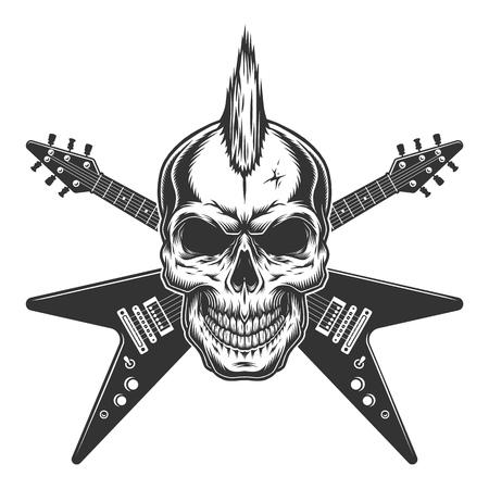 Cráneo de estrella de punk rock vintage con mohawk y guitarras eléctricas cruzadas ilustración vectorial aislada Ilustración de vector