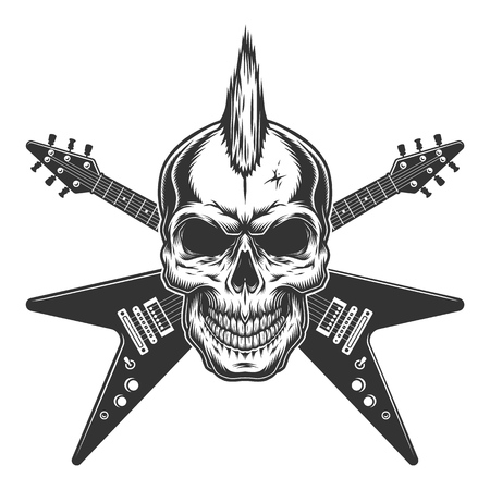 Vintage punk rock star skull with mohawk and crossed electric guitars isolated vector illustration
