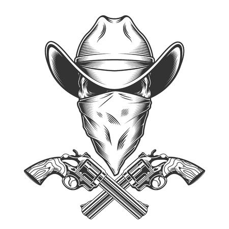 Vintage monochromatyczna czaszka kowboja z szalikiem na twarzy i skrzyżowanymi pistoletami na białym tle ilustracji wektorowych