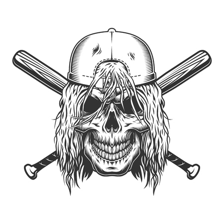 Skull in cap with long hair and crossed baseball bats in vintage monochrome style isolated vector illustration Illustration