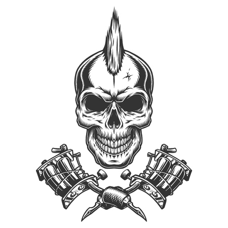 Vintage monochrome tattoo master skull with mohawk and crossed tattoo machines isolated vector illustration