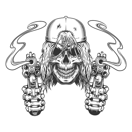 Vintage monochrome skateboarder skull in cap with skeleton hands holding pistols isolated vector illustration Illustration