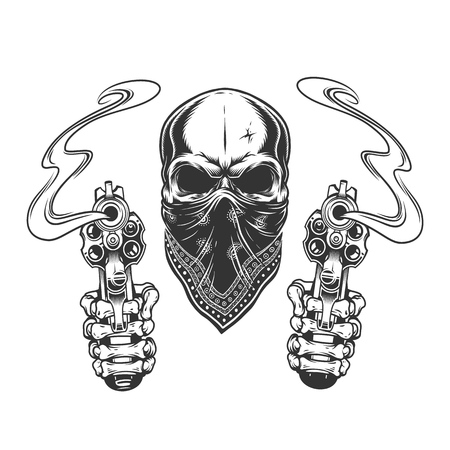 Vintage monochrome bandit skull in bandana and skeleton hands holding pistols isolated vector illustration
