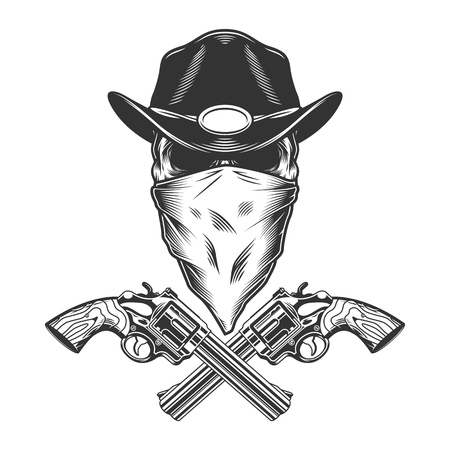 Vintage monochrome wild west concept with sheriff skull and crossed pistols isolated vector illustration