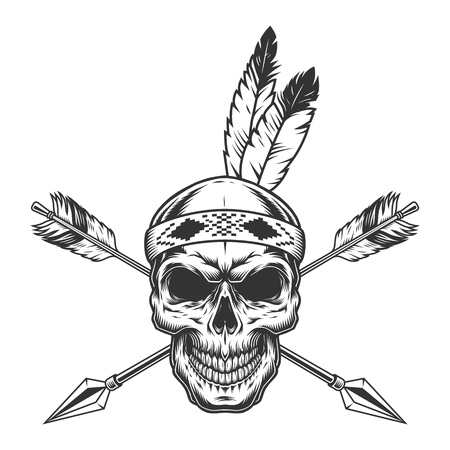 Native american indian warrior skull with feathers and crossed arrows in monochrome vintage style isolated vector illustration