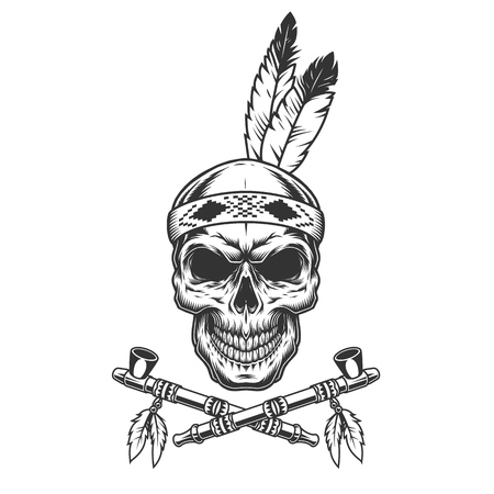 Vintage indian warrior skull with feathers and crossed smoking pipes isolated vector illustration