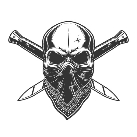 Bandit skull with bandana on face and crossed knives in vintage monochrome style isolated vector illustration