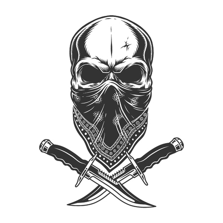 Vintage monochrome skull in bandana with crossed knives isolated vector illustration Illustration