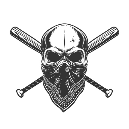 Vintage monochrome skull in bandana with crossed baseball bats isolated vector illustration