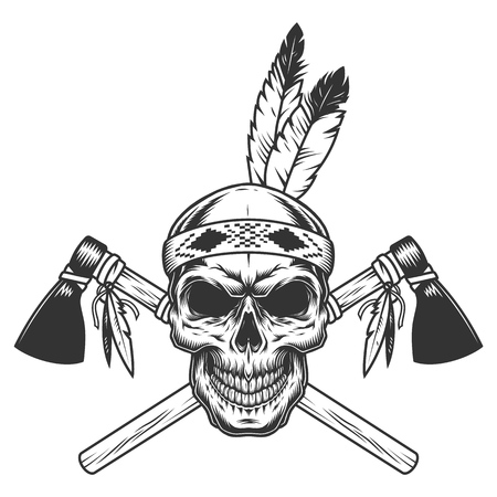 Vintage monochrome indian warrior skull with feathers and crossed tomahawks isolated vector illustration