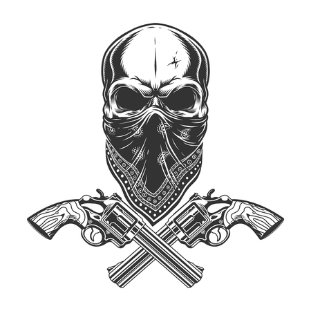 Vintage monochrome criminal concept with skull in bandana and crossed pistols isolated vector illustration