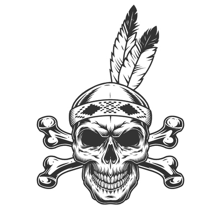 Native american indian warrior skull with feathers and crossbones in vintage monochrome style isolated vector illustration Illustration