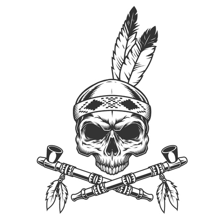 Vintage monochrome skull with indian feathers and crossed smoking pipes isolated vector illustration 向量圖像
