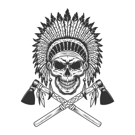 Vintage monochrome indian chief skull with feathers headwear and crossed tomahawks isolated vector illustration
