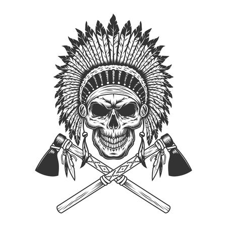 Teschio capo indiano monocromatico vintage con copricapo di piume e tomahawk incrociati illustrazione vettoriale isolato