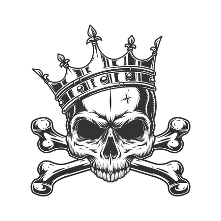 Skull without jaw in royal crown with crossbones in vintage monochrome style isolated vector illustration