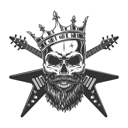 Vintage rock star skull in crown with beard mustache and crossed electric guitars isolated vector illustration Illustration