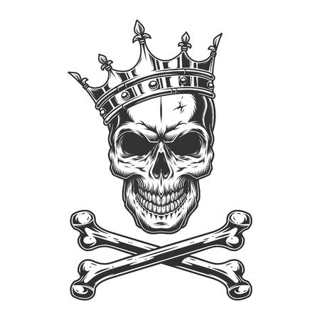 Crâne monochrome vintage en couronne royale avec illustration vectorielle isolée d'os croisés