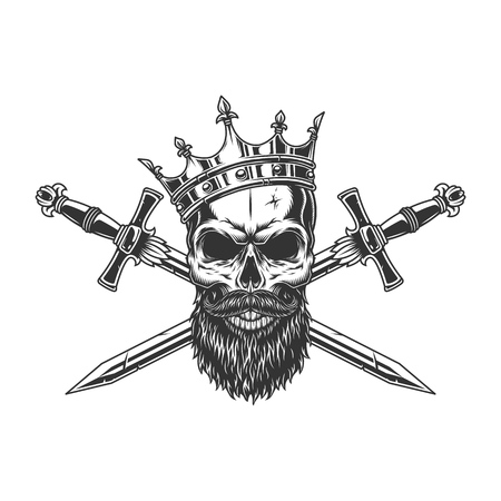Vintage monochrome king skull in crown with beard mustache and crossed swords isolated vector illustration