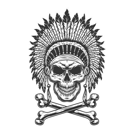 Vintage monochrome indian chief skull with feathers headwear and crossbones isolated vector illustration