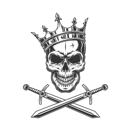 Vintage prince skull in crown with crossed swords isolated vector illustration