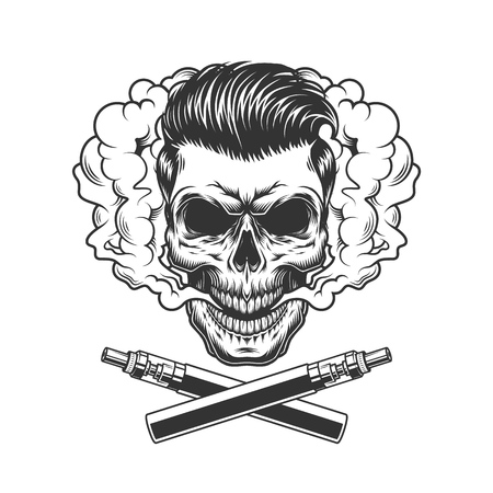 Vintage hipster skull with trendy hairstyle in smoke cloud and crossed electronic cigarettes isolated vector illustration Illustration